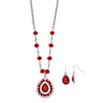 Red Beaded Teardrop Pendant Necklace & Earring Set
