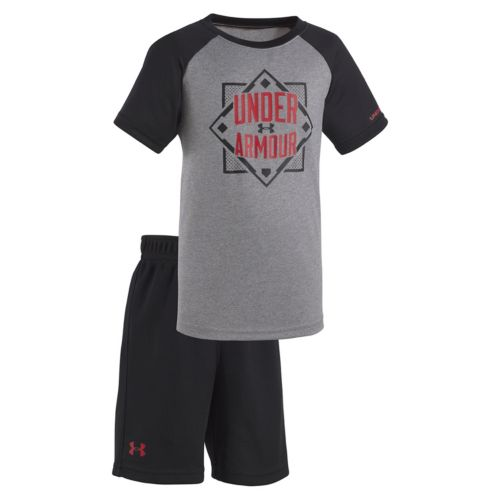 """Baby Boy Under Armour Lead Off Home Plate """"Under Armour"""" Tee & Shorts Set"""
