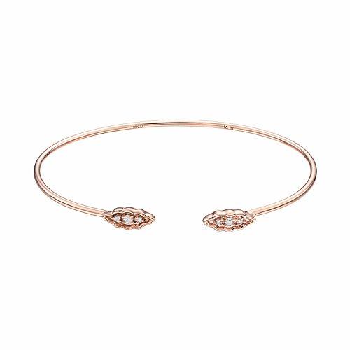 LC Lauren Conrad 10k Rose Gold 1/10 Carat T.W. Diamond Leaf Cuff Bracelet