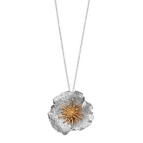 18k Gold Over Silver & Sterling Silver Flower Pendant Necklace