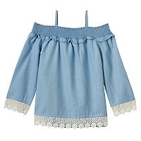 Girls 4-12 SONOMA Goods for Life™ Smocked Cold Shoulder Chambray Top