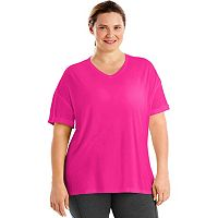 Plus Size Just My Size Mesh Yoke V-Neck Tee