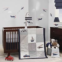 Lambs & Ivy 3 pc Evan Airplanes, Cars, Sailboats & Trucks Crib Bedding Set