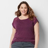 Plus Size SONOMA Goods for Life™ Lave Yoke Linen-Blend Tee