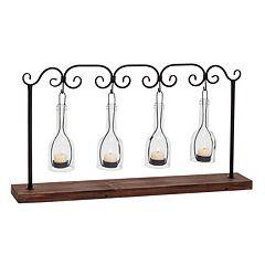 Hanging Glass Bottle 4-Votive Candle Holder