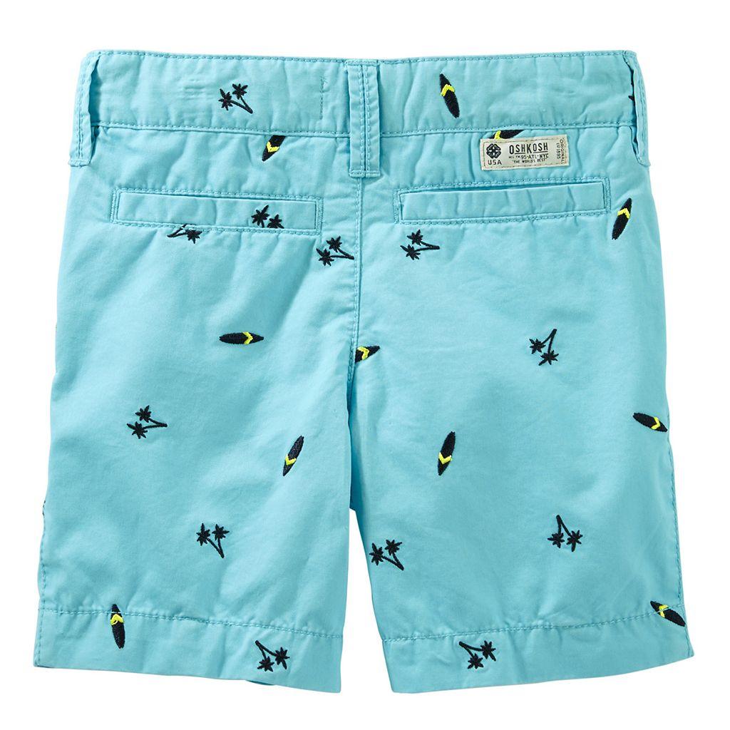 Boys 4-8 OshKosh B'gosh® Flat Front Embroidered Pattern Shorts
