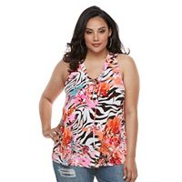 Plus Size Jennifer Lopez Zebra Lace-Up Tank Top