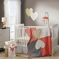 Lambs & Ivy 3 pc Dawn Hearts Crib Bedding Set