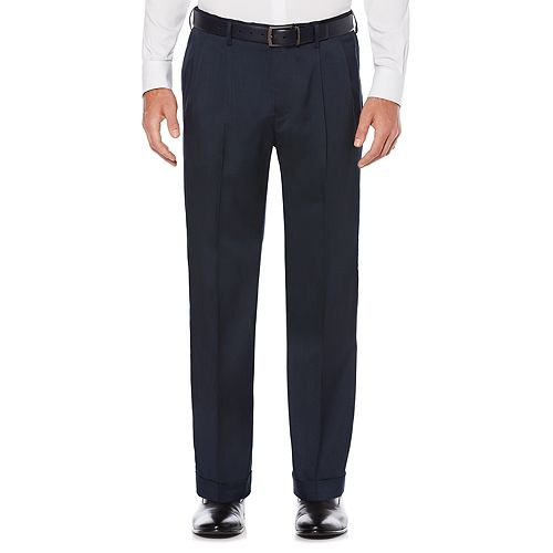 Men's Savane Straight-Fit Stretch Crosshatch Pleated Dress Pants