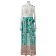 Juniors' Trixxi Lace Chiffon Maxi Dress