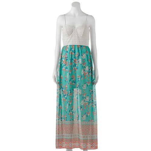 Juniors' Trixxi Lace Chiffon Maxi Dress
