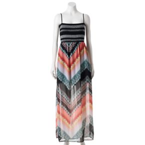 Juniors' Trixxi Print Smocked Maxi Dress