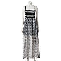 Juniors' Trixxi Print Smocked Maxi Dress