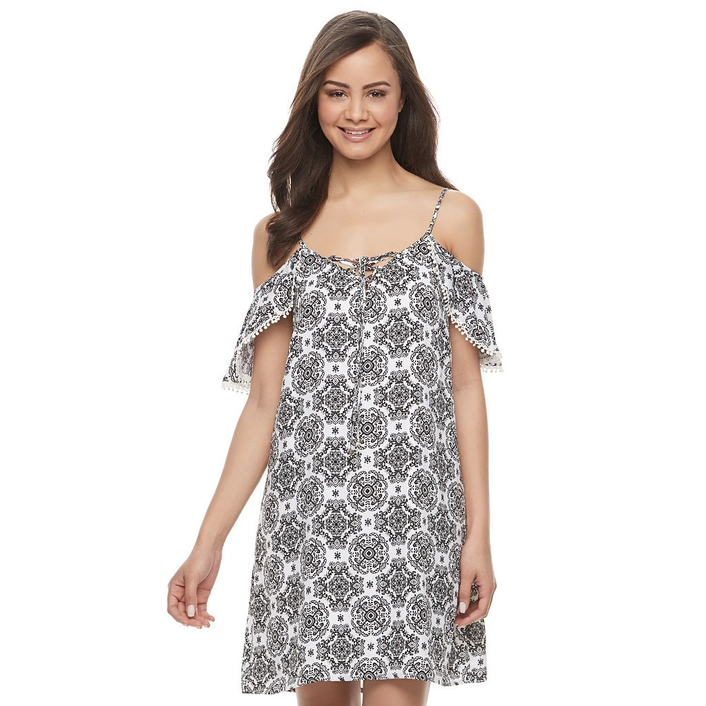 Juniors' Trixxi Lace-Up Off Shoulder Shift Dress