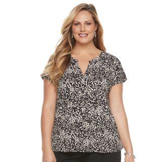 Plus Size Dana Buchman Printed Splitneck Top