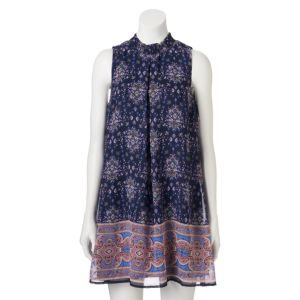 Juniors' Speechless Mockneck Shift Dress