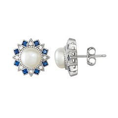 Sterling Silver Freshwater Cultured Pearl & Lab-Created Blue Spinel Stud Earrings