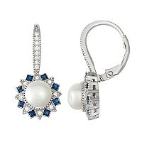 Sterling Silver Freshwater Cultured Pearl & Lab-Created Blue Spinel Drop Earrings