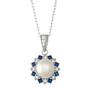 Sterling Silver Freshwater Cultured Pearl & Lab-Created Blue Spinel Flower Pendant
