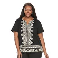 Plus Size Croft & Barrow® Smocked Shoulder Tee