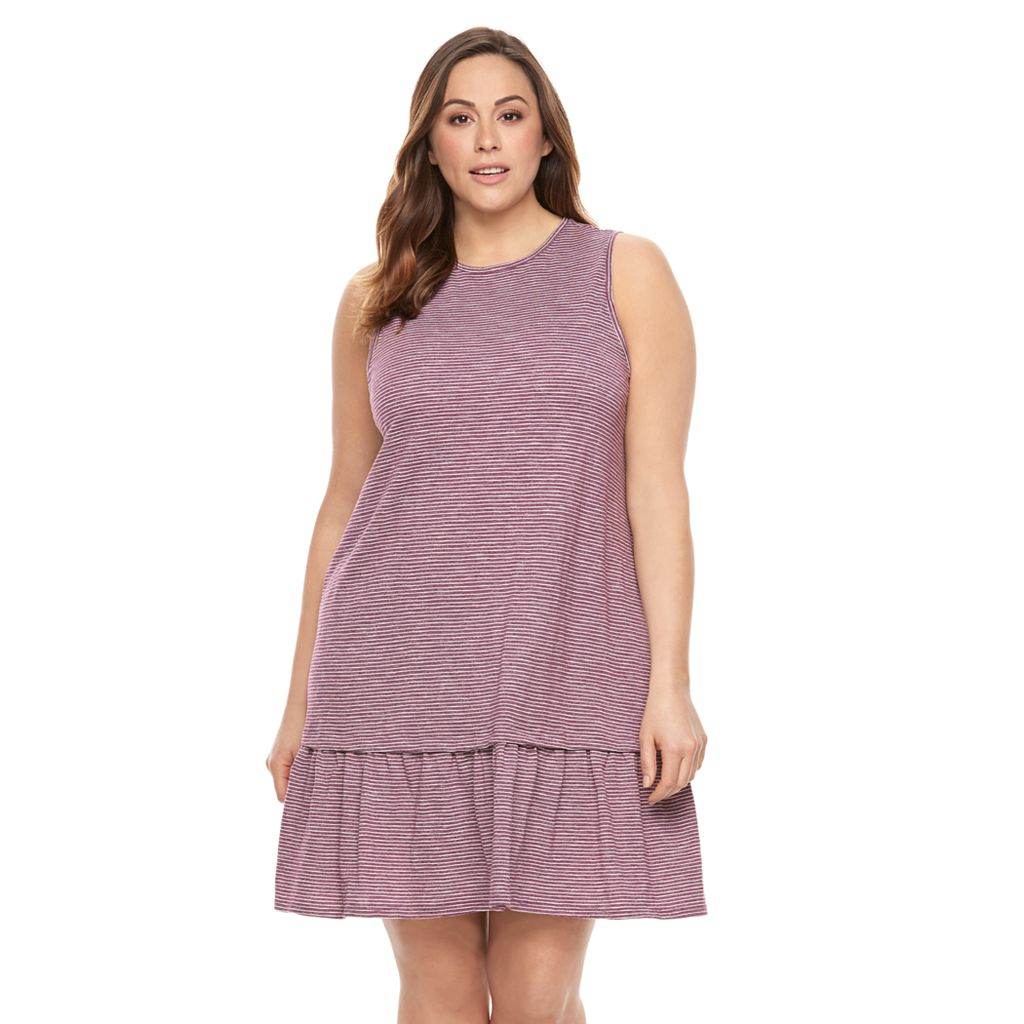 Plus Size SONOMA Goods for Life™ Drop-Waist Flounce Dress