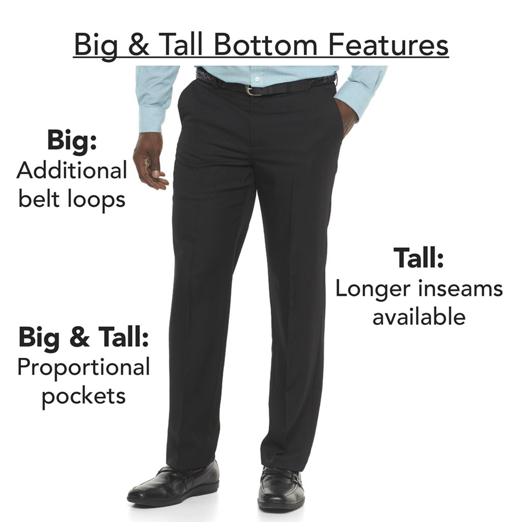 Big & Tall Haggar® Cool 18® PRO Wrinkle-Free Pleated Expandable Waist Pants