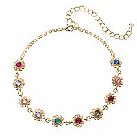Flower Link Choker Necklace