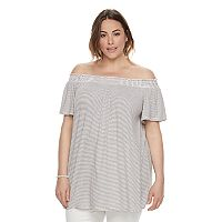 Plus Size SONOMA Goods for Life™ Striped Off-the-Shoulder Top
