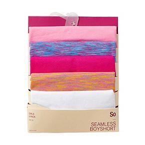 Girls 4-16 SO® 5-pk. Striped & Seamless Solid Boyshort Panties