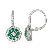 Sterling Silver Lab-Created Green Spinel & Cubic Zirconia Flower Drop Earrings