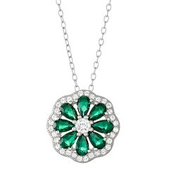 Sterling Silver Lab-Created Green Spinel & White Sapphire Flower Pendant