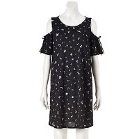 Women's LC Lauren Conrad Cold-Shoulder Textured Shift Dress