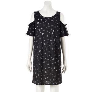 Women's LC Lauren Conrad Cold-Shoulder Textured Shift Dress