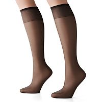Hanes Silk Reflections 2-pk. Sheer Toe Knee-Highs