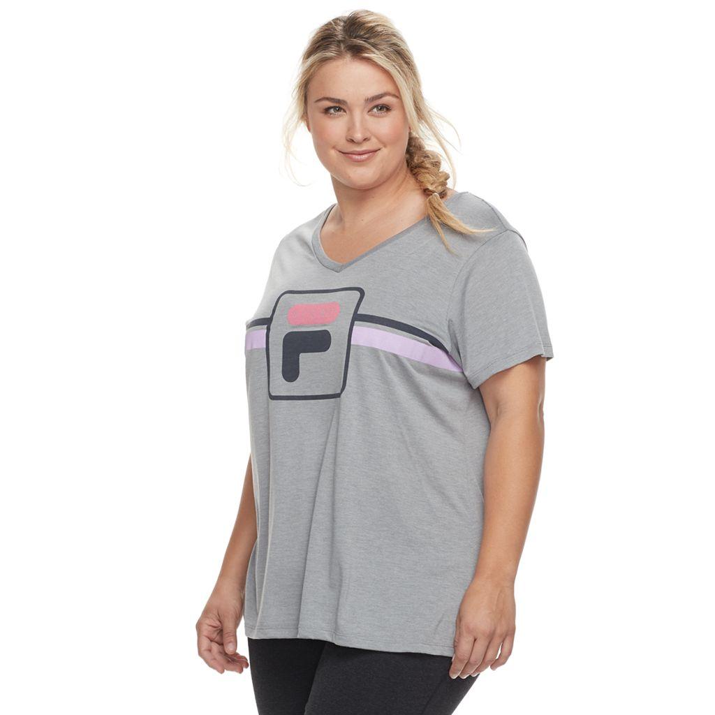 Plus Size FILA SPORT® Logo Graphic V-Neck Tee