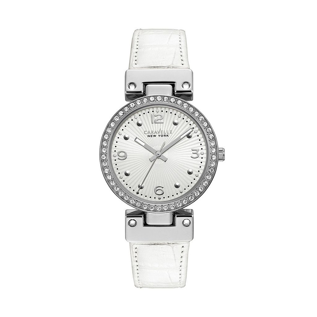 Caravelle New York by Bulova Women's Crystal Reversible Leather Watch - 43L201
