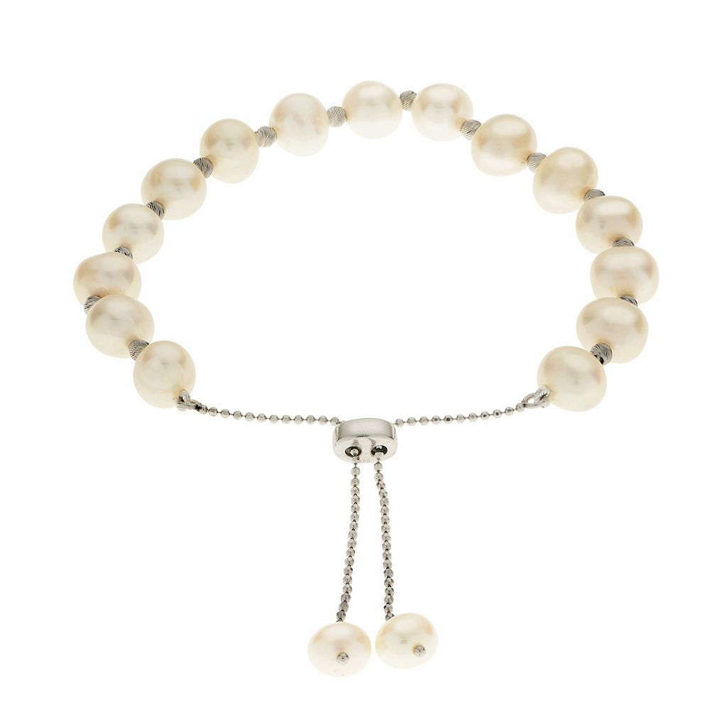 PearLustre by Imperial Sterling Silver Freshwater Cultured Pearl Bolo Bracelet