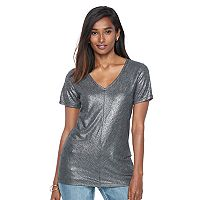 Women's Apt. 9® Essential Metallic V-Neck Tee