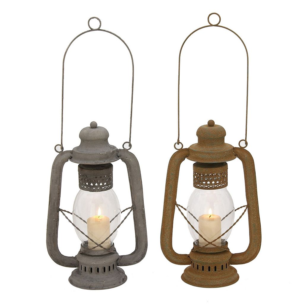 Rustic Lantern Candle Holder 2-piece Set