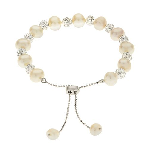 PearLustre by Imperial Sterling Silver Freshwater Cultured Pearl & Crystal Bolo Bracelet