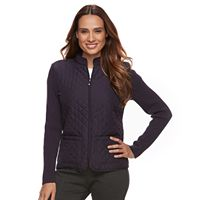 Petite Croft & Barrow® Quilted Zip-Front Sweater