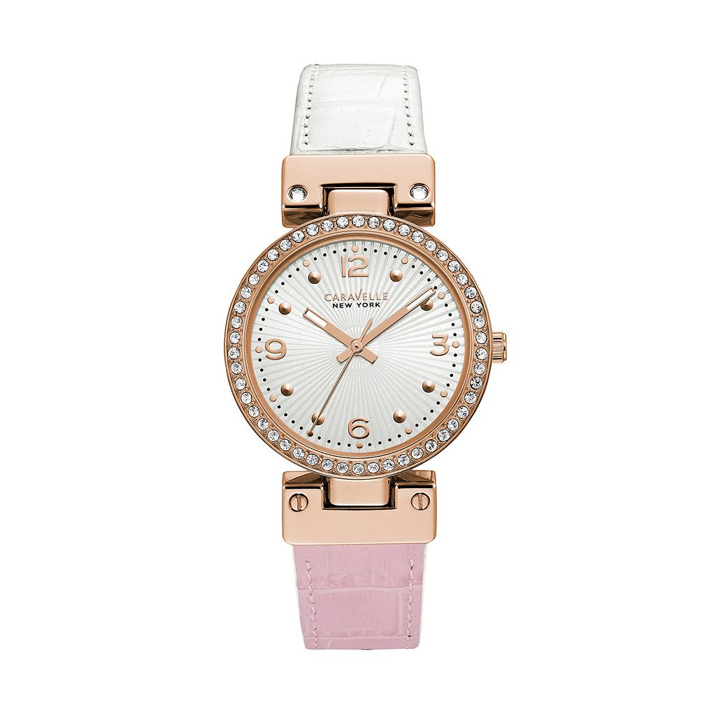 Caravelle New York by Bulova Women's Crystal Reversible Leather Watch - 43L232