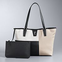 Simply Vera Vera Wang Colorblock Signature Tote with Removable Pouch