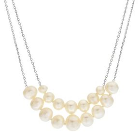 PearLustre by Imperial Sterling Silver Freshwater Cultured Pearl Double Strand Necklace