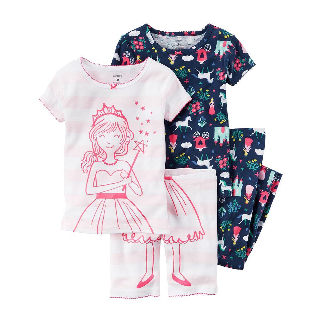 Baby Girl Carter's Graphic Tee, Print Tee, Graphic Shorts & Printed Pants Pajama Set