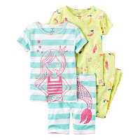 Baby Girl Carter's Graphic Tee, Print Tee, Graphic Shorts & Printed Pants Pajama Set