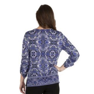 Women's Larry Levine Mosaic Lace-Up Tee