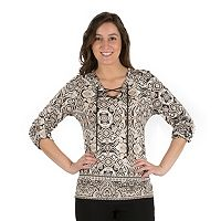Women's Larry Levine Mosaic Lace-Up Tee