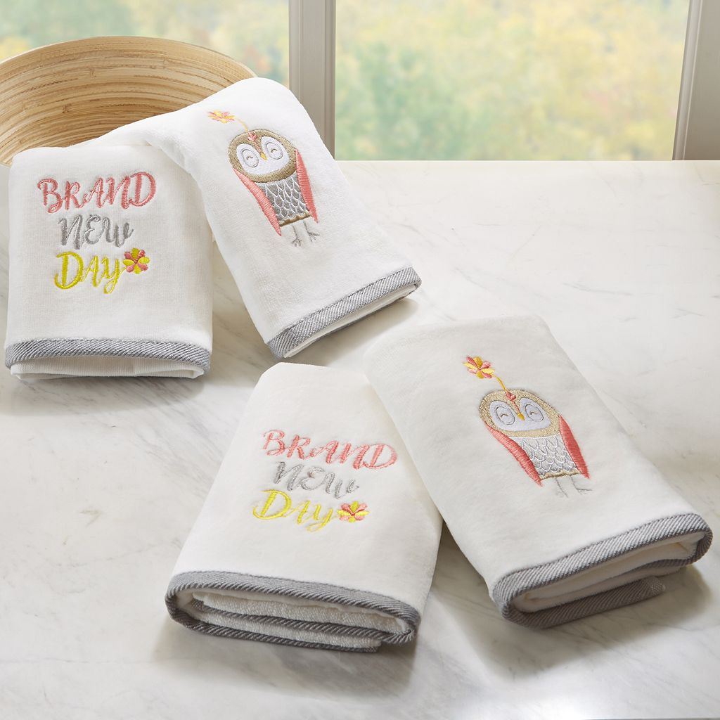 HipStyle 4-pack Happy Owl Embroidered Towel
