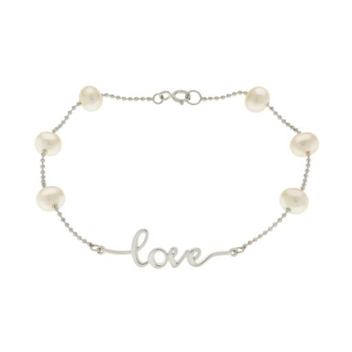 """PearLustre by Imperial Sterling Silver Freshwater Cultured Pearl """"Love"""" Bracelet"""